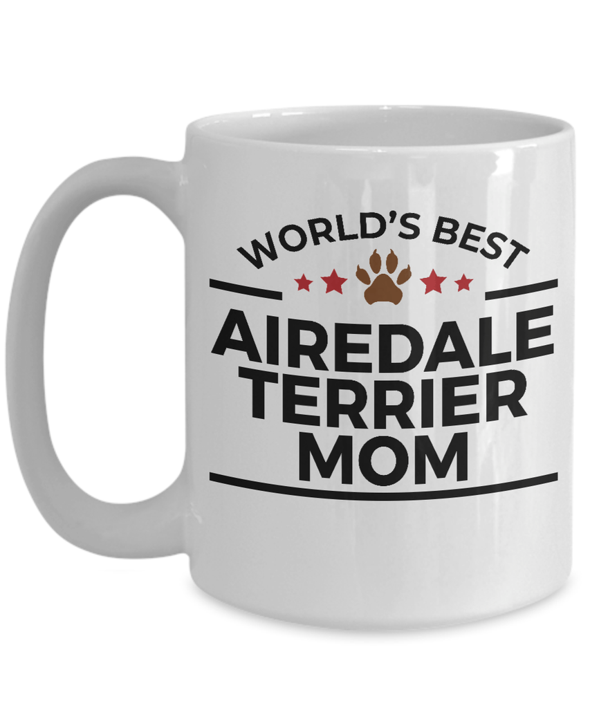Airedale Terrier Dog Lover Gift World's Best Mom Birthday Mother's Day White Ceramic Coffee Mug