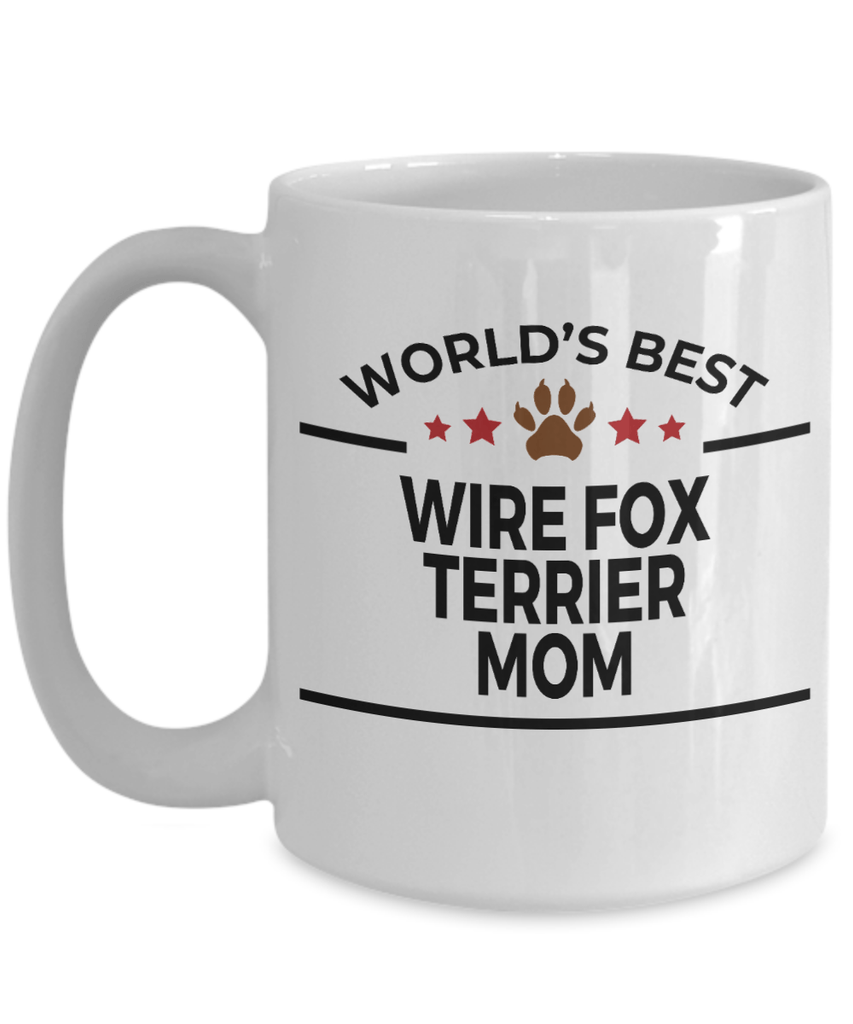 Wire Fox Terrier Dog Lover Gift World's Best Mom Birthday Mother's Day White Ceramic Coffee Mug