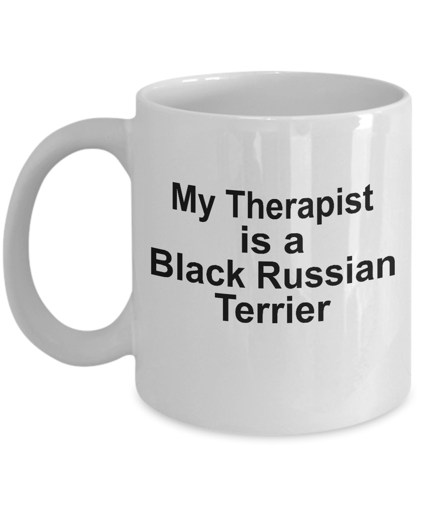 Black Russian Terrier Dog Owner Lover Funny Gift Therapist White Ceramic Coffee Mug
