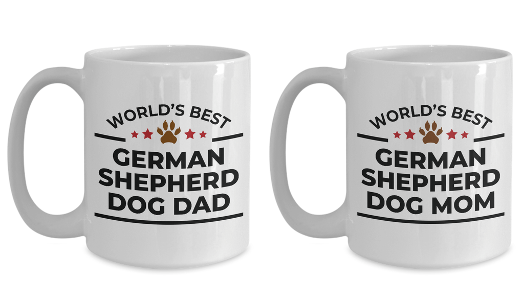 World's Best German Shepherd Dog Mom and Dad Couple Mugs- Set of 2