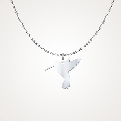 Hummingbird Silhouette Sterling Silver Pendant Necklace