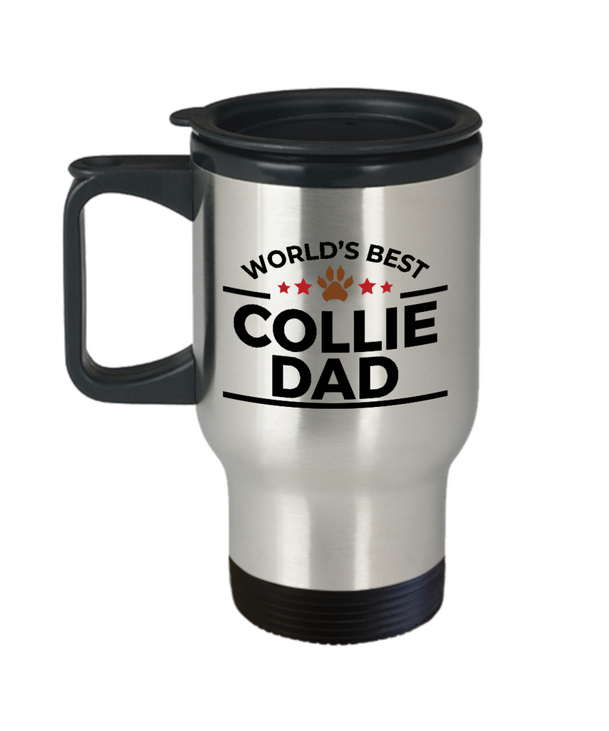 Collie Dog Lover Gift World's Best Dad Birthday Father's Day Stainless Steel Insulated Travel Coffee Mug
