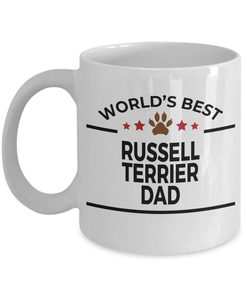 Russell Terrier Dog Lover Gift World's Best Dad Birthday Father's Day White Ceramic Coffee Mug