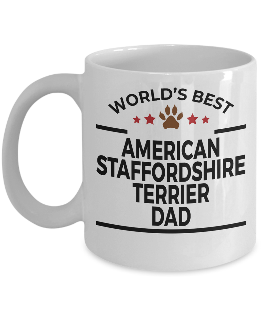 American Staffordshire Terrier Dog Lover Gift World's Best Dad Birthday Father's Day White Ceramic Coffee Mug