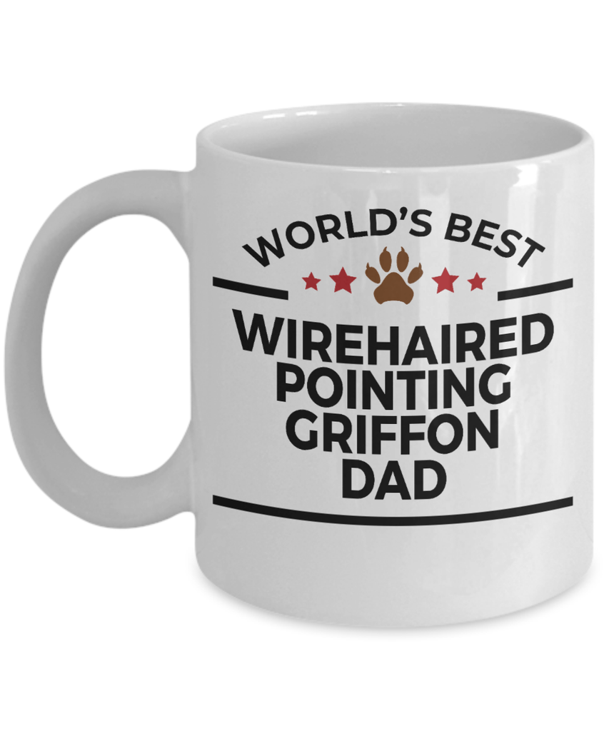 Wirehaired Pointing Griffon Dog Lover Gift World's Best Dad Birthday Father's Day White Ceramic Coffee Mug