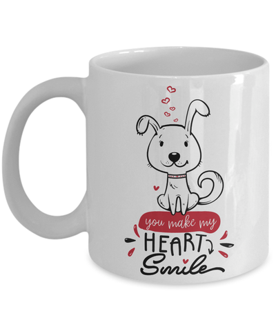 You Make My Heart Smile Cute Valentine Puppy Mug