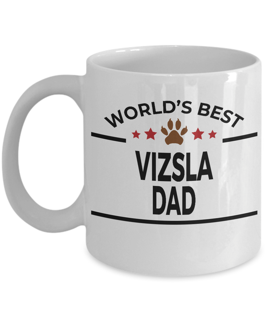 Vizsla Dog Lover Gift World's Best Dad Birthday Father's Day White Ceramic Coffee Mug