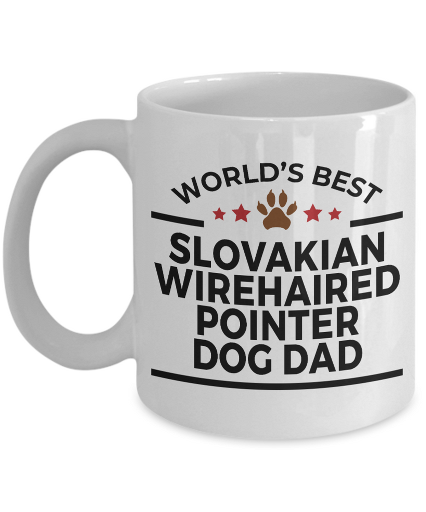 Slovakian Wirehaired Pointer Dog Lover Gift World's Best Dad Birthday Father's Day White Ceramic Coffee Mug