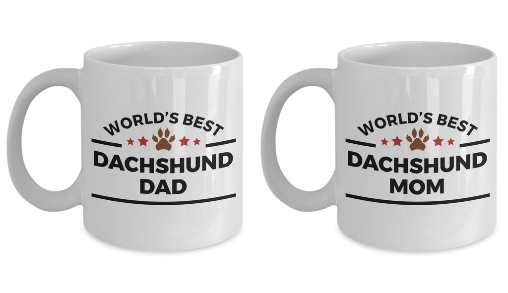 World's Best Dachshund Dad and Mom Couple Ceramic Mug - Set of 2 His and Hers
