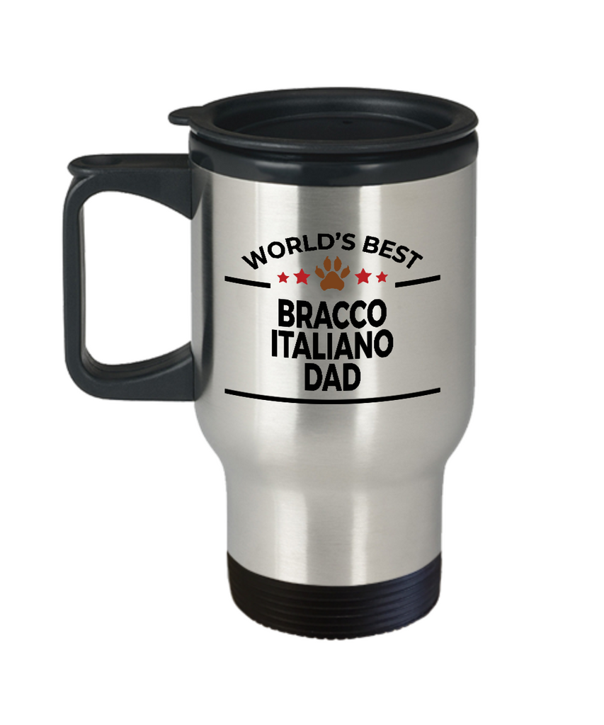 Bracco Italiano Dog Lover Gift World's Best Dad Birthday Father's Day Stainless Steel Insulated Travel Coffee Mug