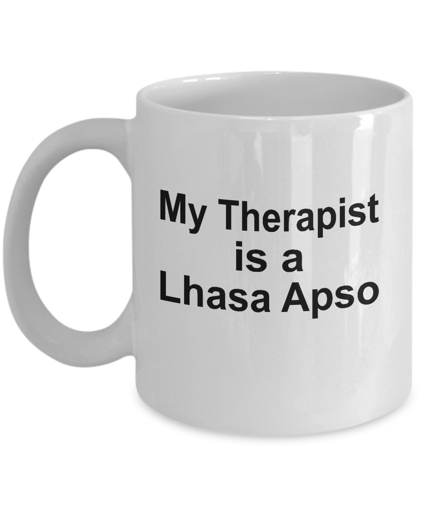 Lhasa Apso Dog Owner Lover Funny Gift Therapist White Ceramic Coffee Mug