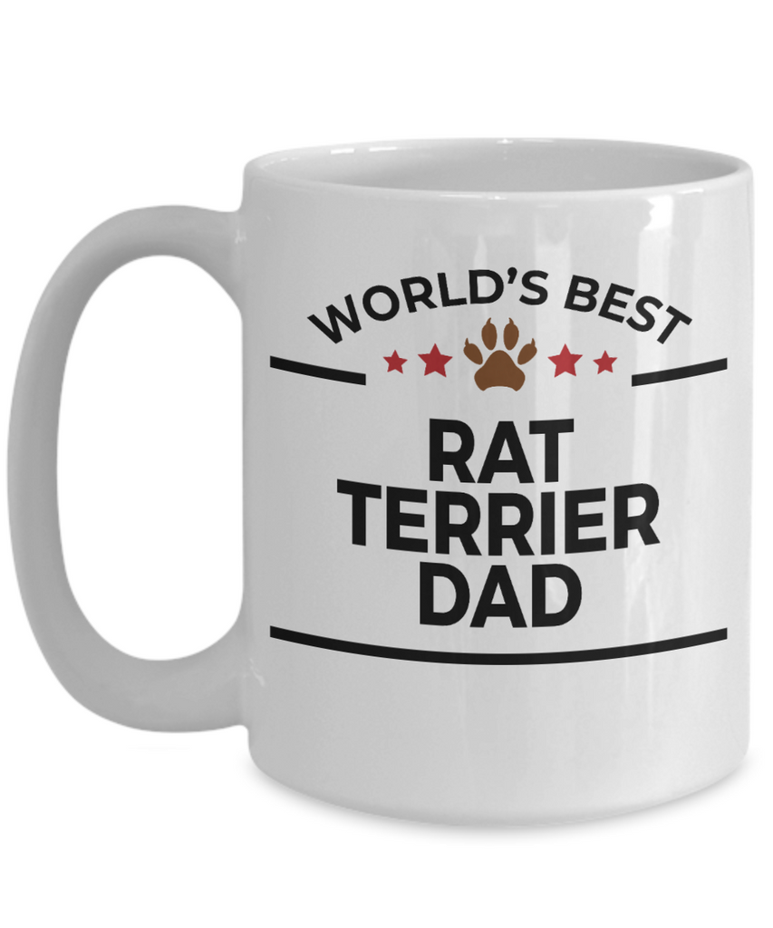 Rat Terrier Dog Lover Gift World's Best Dad Birthday Father's Day White Ceramic Coffee Mug