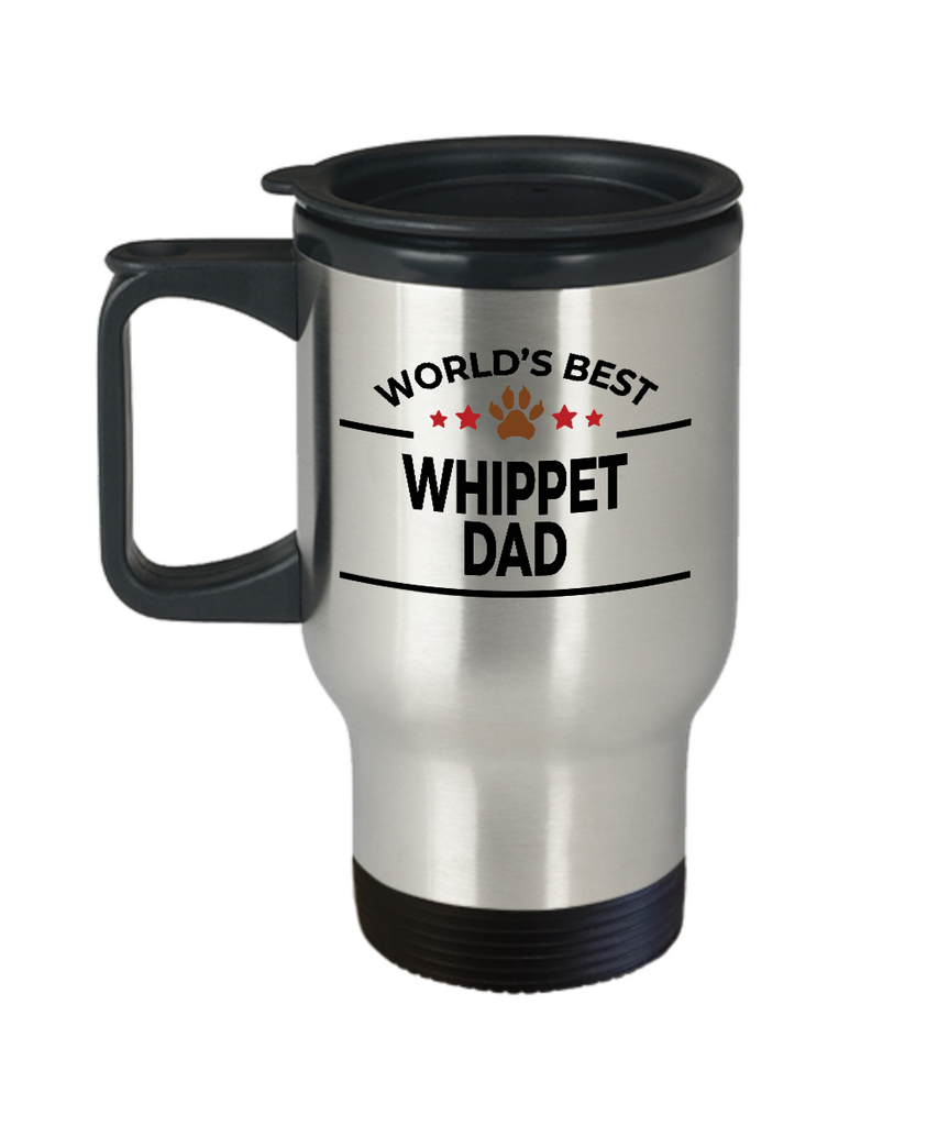 Whippet Dog Lover Gift World's Best Dad Birthday Father's Day Stainless Steel Insulated Travel Coffee Mug