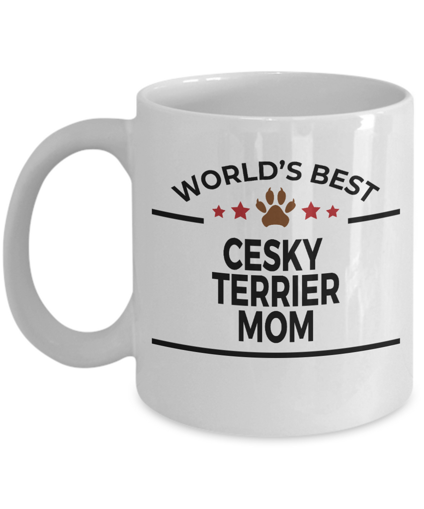 Cesky Terrier Dog Lover Gift World's Best Mom Birthday Mother's Day White Ceramic Coffee Mug