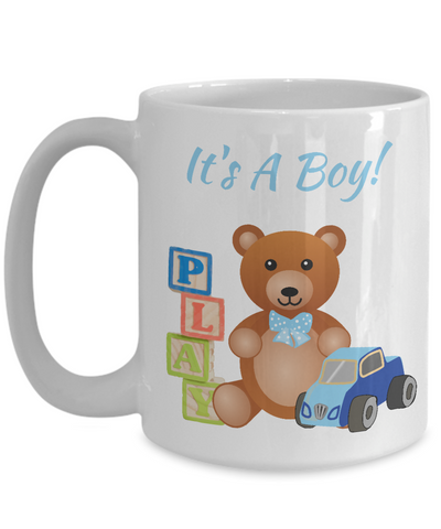 It's A Boy! Baby Birth Announcement White Ceramic Mug