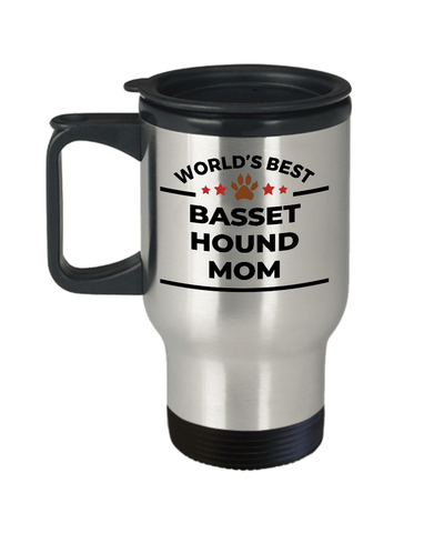 Basset Hound Dog Lover Gift World's Best Mom Birthday Mother's Day Stainless Steel Insulated Travel Coffee Mug