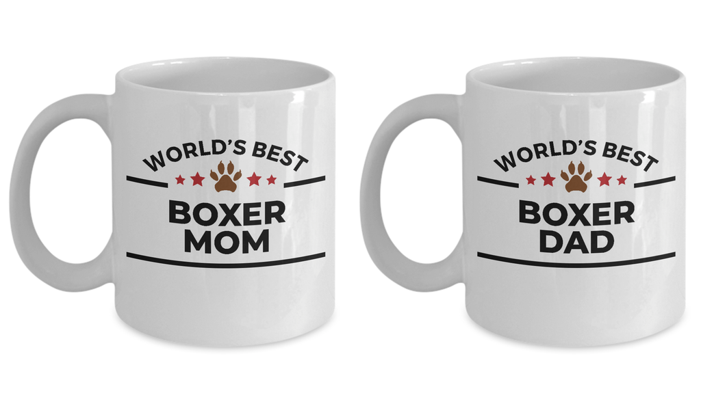 World's Best Boxer Dad and Mom Couple Ceramic Mug - Set of 2 - His and Hers