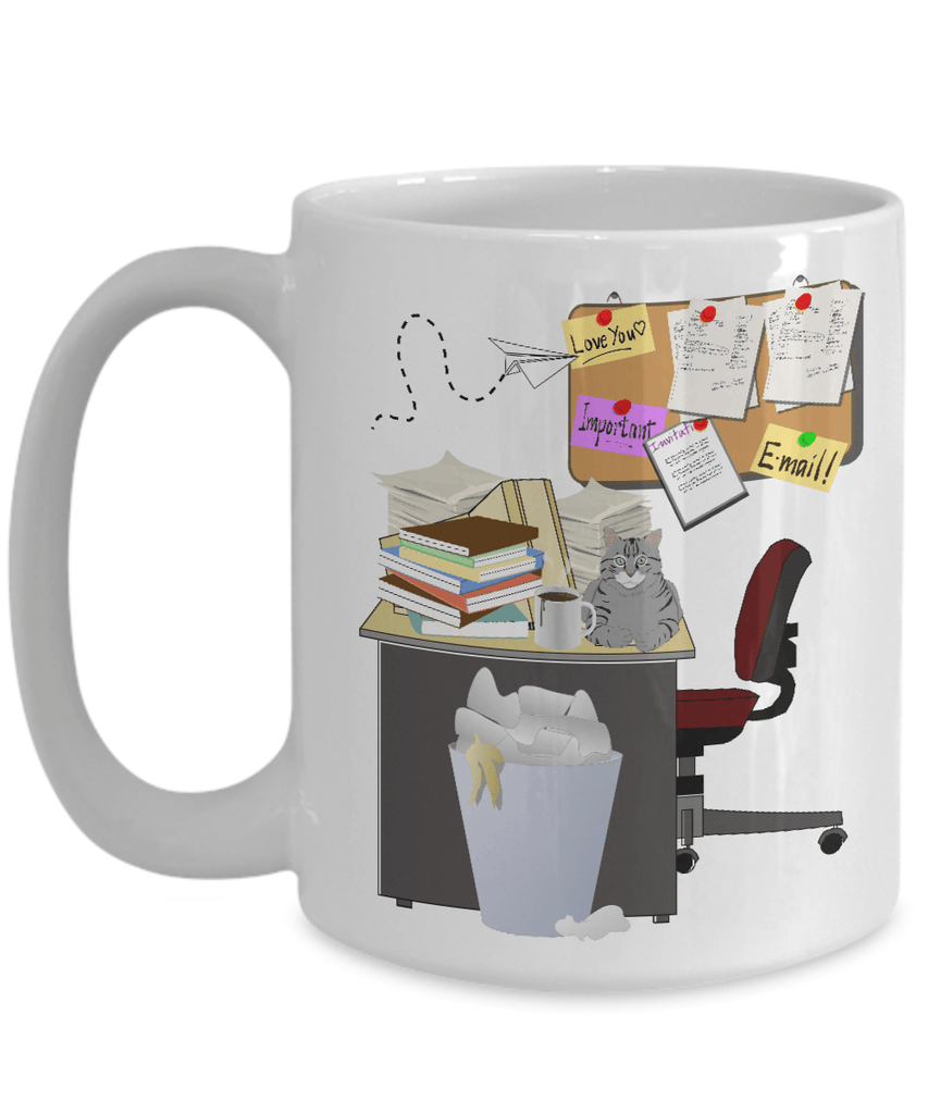 A Cluttered Desk Is A Sign of Genius White Ceramic Coffee Mug