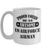US Air Force Airman Proud Cousin Coffee mug