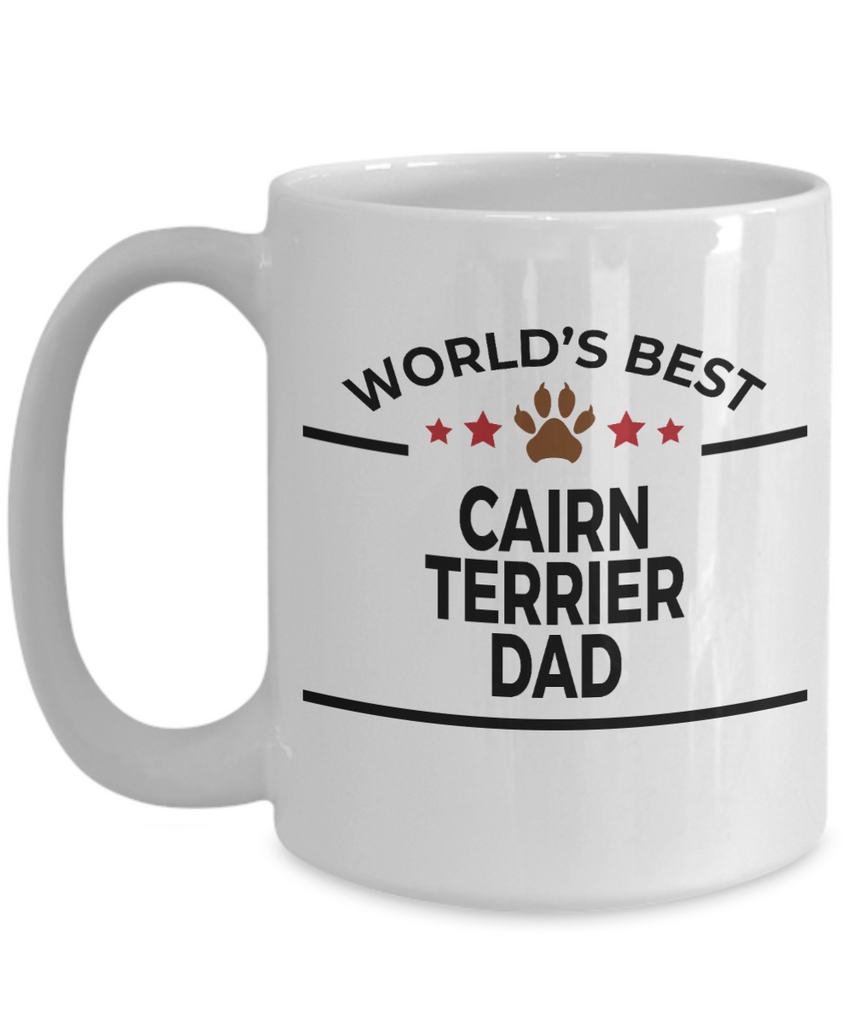 Cairn Terrier Dog Lover Gift World's Best Dad Birthday Father's Day White Ceramic Coffee Mug