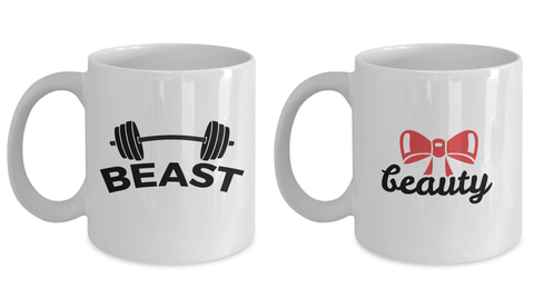 The Beauty and Beast Coffee Cup Set of 2 -  Couples