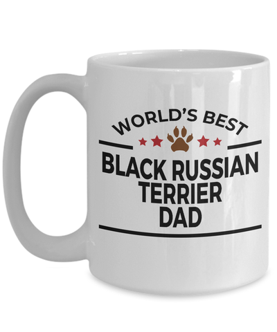 Black Russian Terrier Dog Lover Gift World's Best Dad Birthday Father's Day White Ceramic Coffee Mug