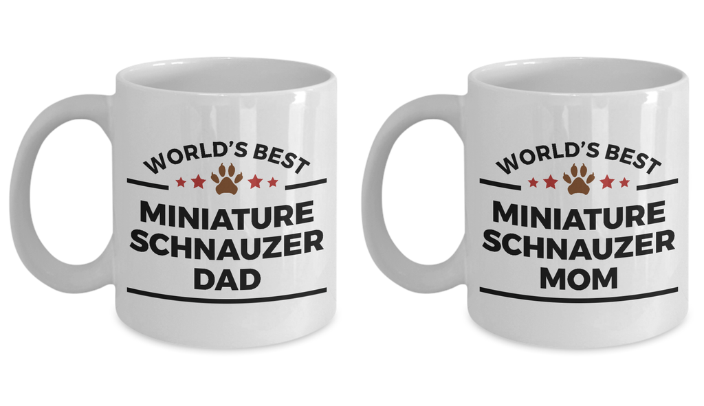 Miniature Schnauzer Mom and Dad Coffee Mug Couples Set of 2 His and Hers