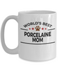 Porcelaine Dog Lover Gift World's Best Mom Birthday Mother's Day White Ceramic Coffee Mug