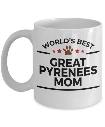 Great Pyrenees Dog Lover Gift World's Best Mom Birthday Mother's Day White Ceramic Coffee Mug