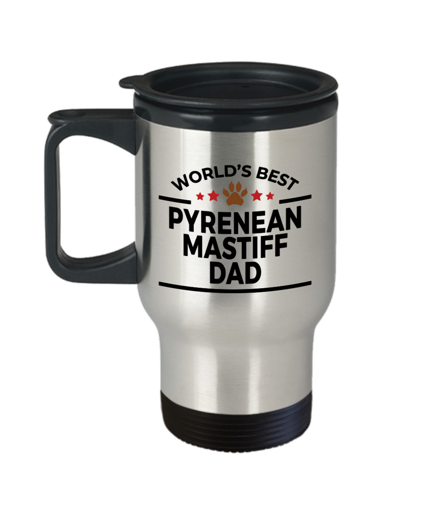 Pyrenean Mastiff Dog Lover Gift World's Best Dad Birthday Father's Day Stainless Steel Insulated Travel Coffee Mug