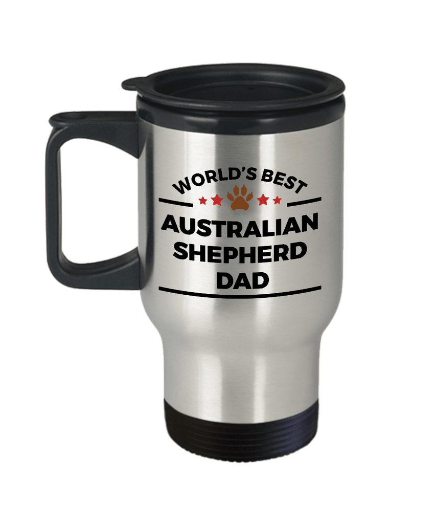 Australian Shepherd Dog Lover Gift World's Best Dad Birthday Father's Day Stainless Steel Insulated Travel Coffee Mug