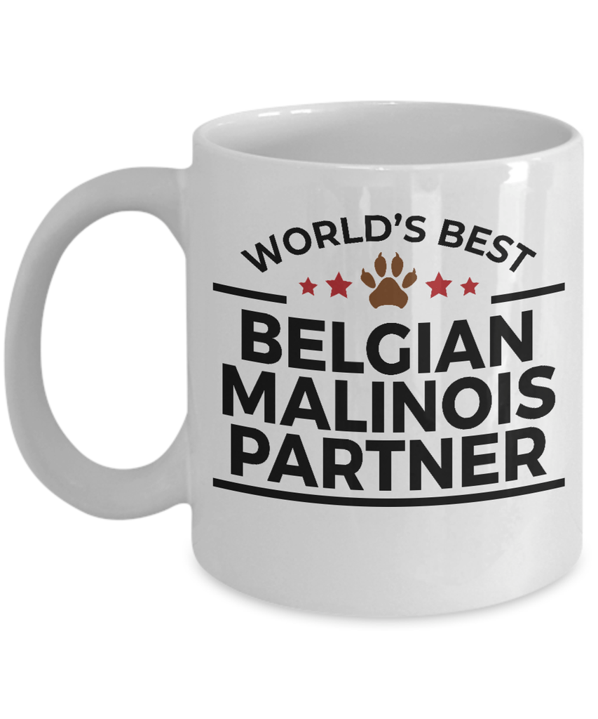 Belgian Malinois Dog Lover Gift World's Best Partner Police Canine Officer Birthday White Ceramic Coffee Mug