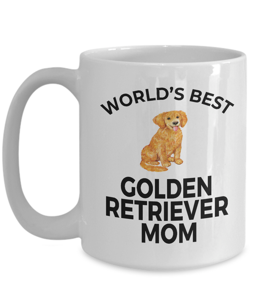 Golden Retriever Dog Lover Gift World's Best Mom Birthday Mother's Day Present White Ceramic Coffee Mug
