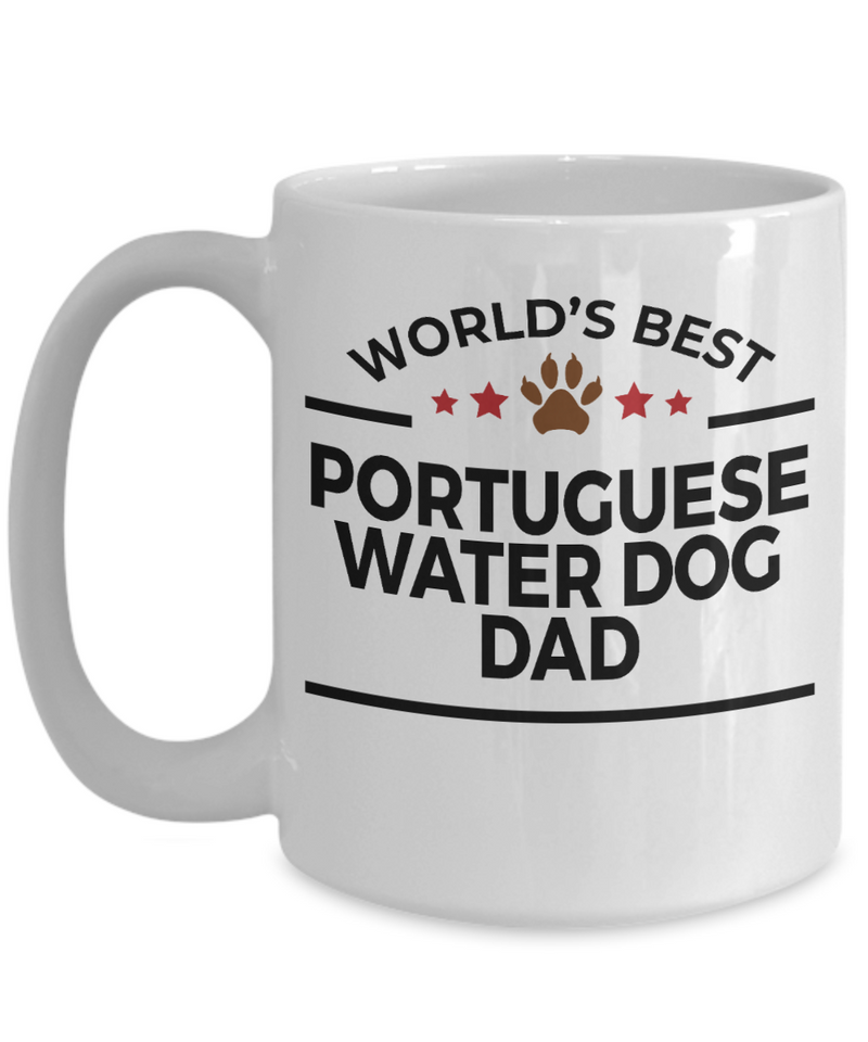Portuguese Water Dog Lover Gift World's Best Dad Birthday Father's Day White Ceramic Coffee Mug