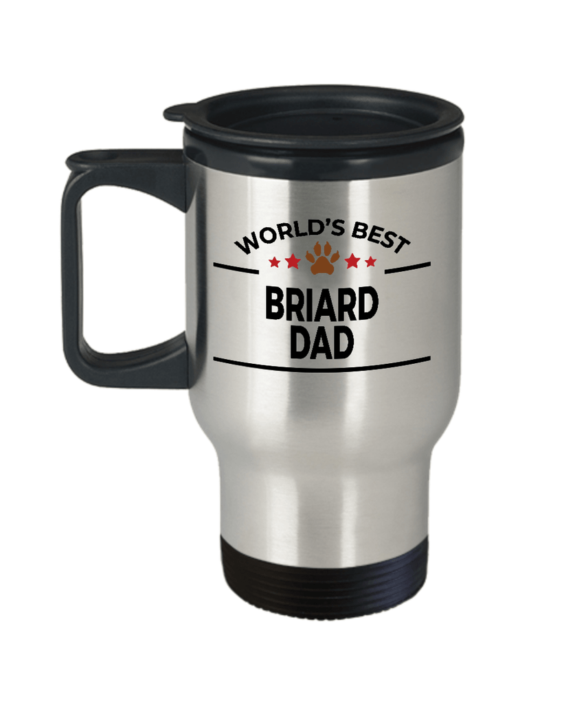Briard Dog Lover Gift World's Best Dad Birthday Father's Day Stainless Steel Insulated Travel Coffee Mug