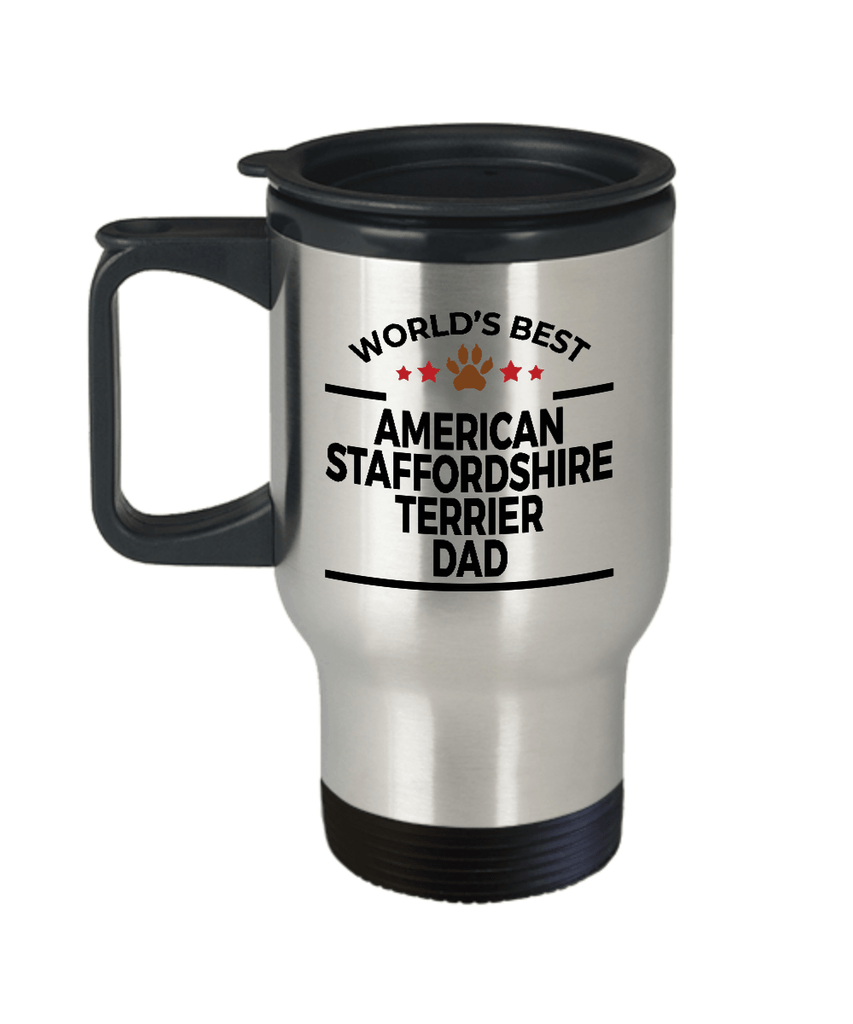 American Staffordshire Terrier Dog Lover Gift World's Best Dad Birthday Father's Day Stainless Steel Insulated Travel Coffee Mug