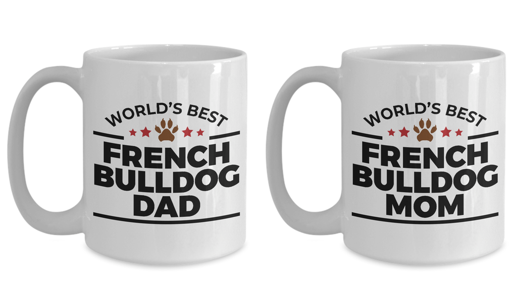 French Bulldog Mom and Dad Couples Ceramic Mugs - Set of 2