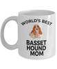 Basset Hound Dog Lover Gift World's Best Mom Birthday Mother's Day Present White Ceramic Coffee Mug