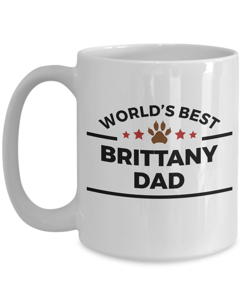 Brittany Dog Lover Gift World's Best Dad Birthday Father's Day Ceramic Coffee Mug