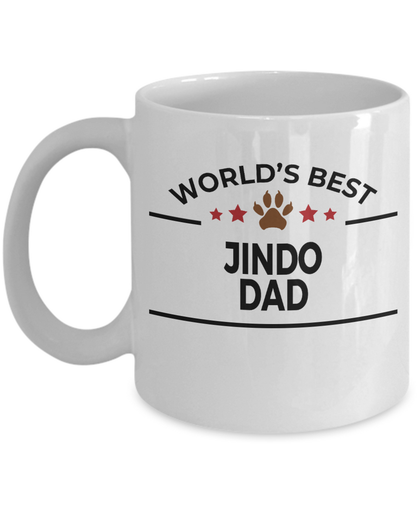 Jindo Dog Lover Gift World's Best Dad Birthday Father's Day White Ceramic Coffee Mug