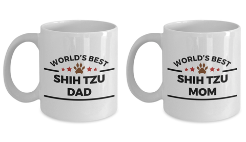 Shih Tzu Dog Lover Gift World's Best Dad Mom Mother's Father's Day Birthday Coffee Mug Set of 2