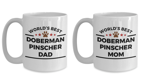 Doberman Pinscher Dog Dad and Mom Coffee Mug Set of 2