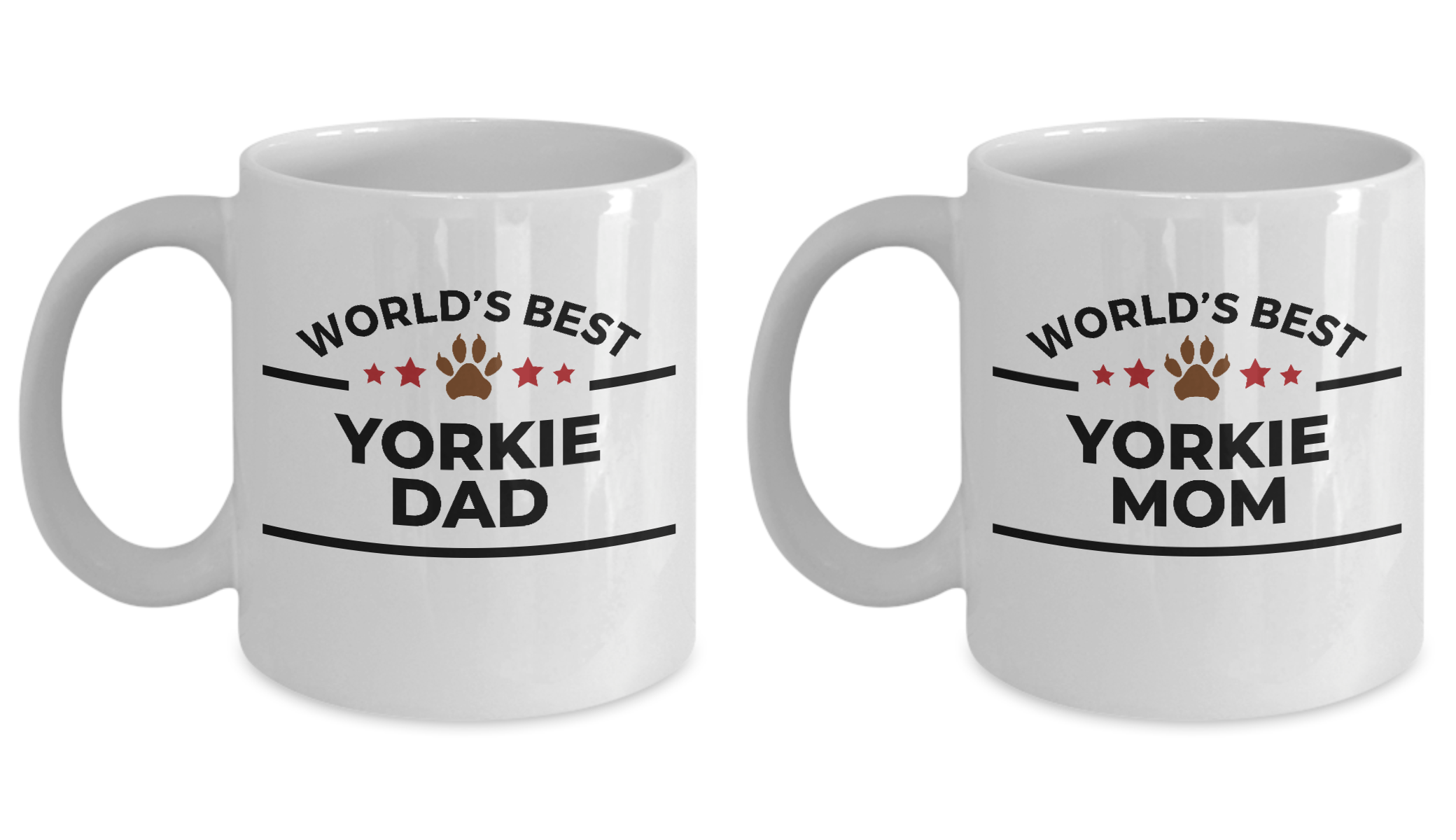 World's Best Yorkie Dad and Mom Couple Ceramic Mug - Set of 2 His and Hers