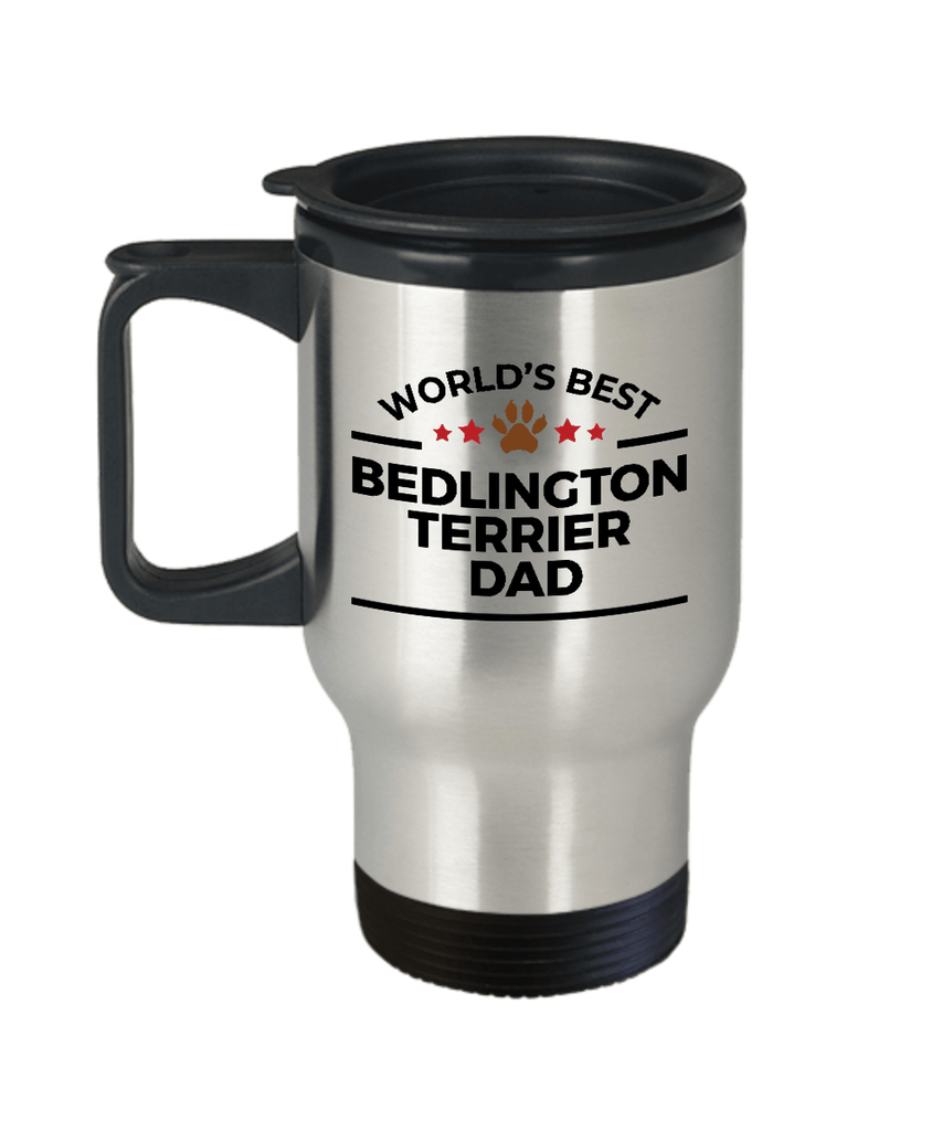 Bedlington Terrier Dog Lover Gift World's Best Dad Birthday Father's Day Stainless Steel Insulated Travel Coffee Mug