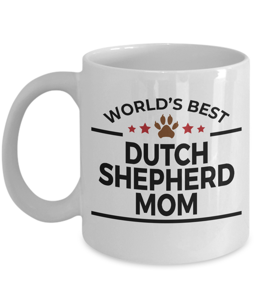 Dutch Shepherd Dog Lover Gift World's Best Mom Birthday Mother's Day White Ceramic Coffee Mug