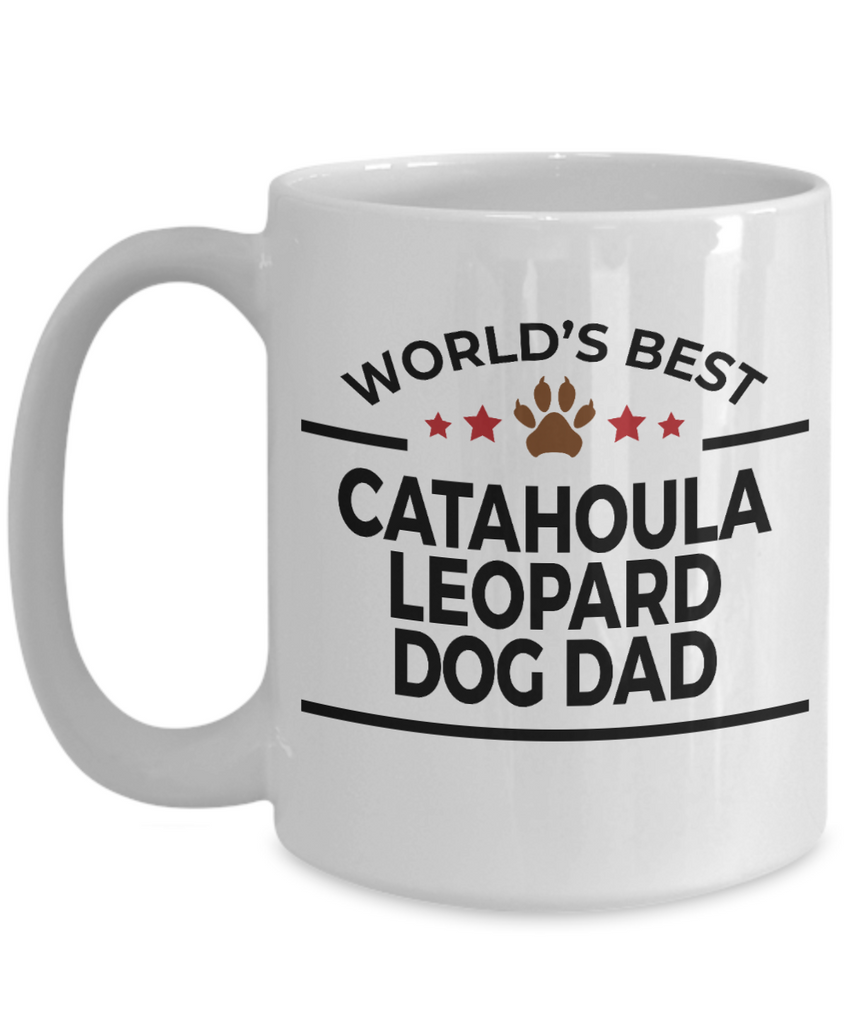 Catahoula Leopard Dog Lover Gift World's Best Dad Birthday Father's Day White Ceramic Coffee Mug