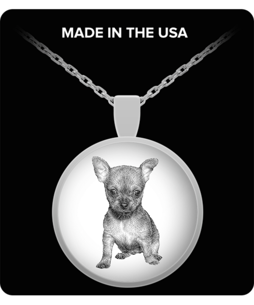 Chihuahua Puppy Silver Pendant Necklace