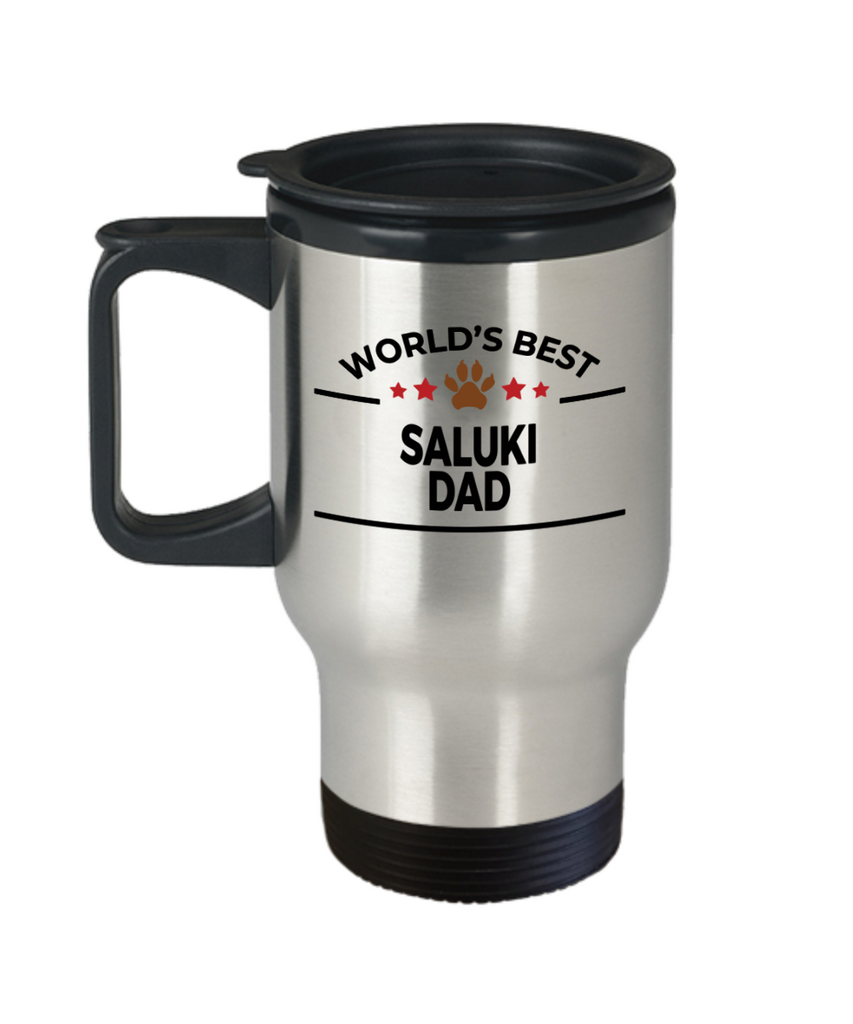 Saluki Dog Lover Gift World's Best Dad Birthday Father's Day Stainless Steel Insulated Travel Coffee Mug