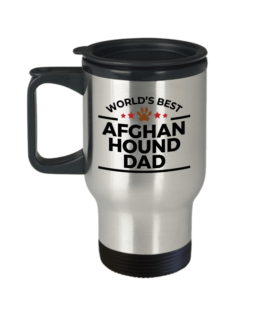 Afghan Hound Dog Lover Gift World's Best Dad Birthday Father's Day Stainless Steel Insulated Travel Coffee Mug