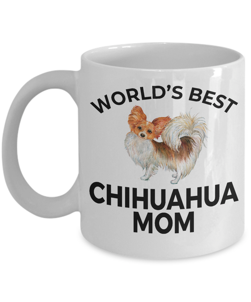 Chihuahua Long Haired Dog Lover Gift Word's Best Mom Birthday Mother's Day Present White Ceramic Coffee Mug